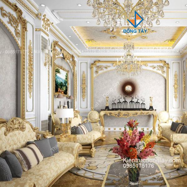 Thiết kế phòng khách biệt thự lâu đài cổ điển