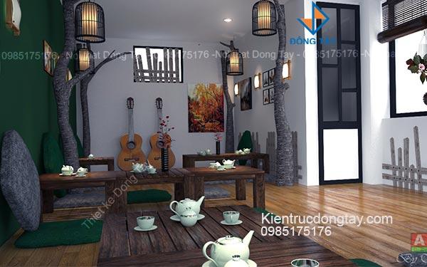 Thiết kế quán cà phê ngồi bệt tầng thượng
