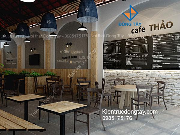 thiết kế quán cafe thảo