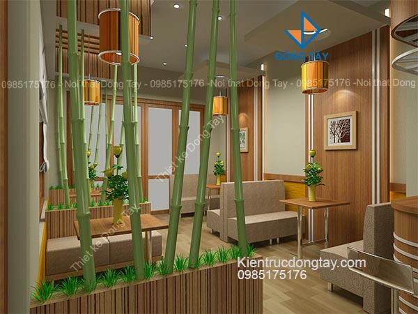Thiết kế quán cafe trang trí vách ngăn bằng cây tre