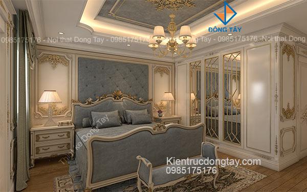 Thiết kế nội thất phòng ngủ master chung cư tân cổ điển