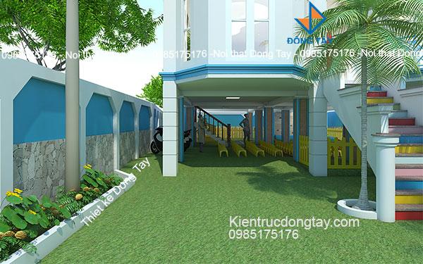 Mẫu thiết kế sân vườn trường mầm non đẹp