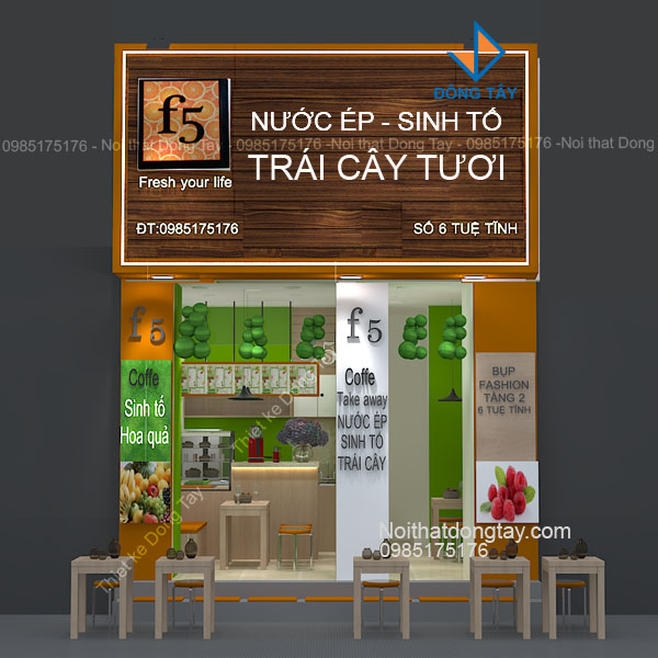 Mặt tiền cửa hàng nước ép sinh tố trái cây