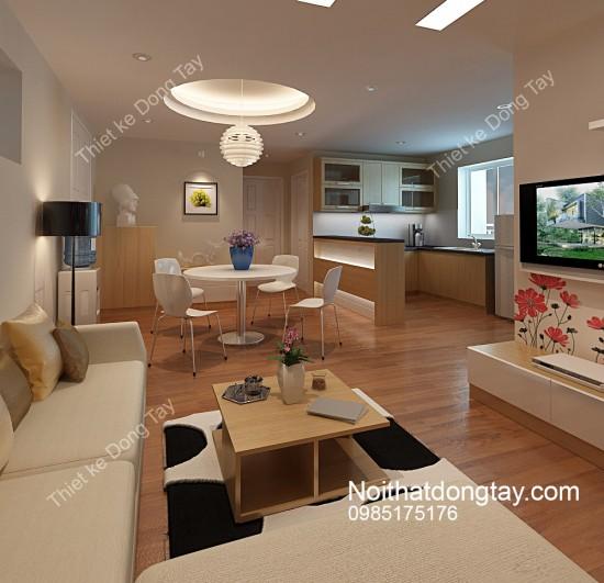 Mẫu nội thất chung cư phòng khách liền bếp