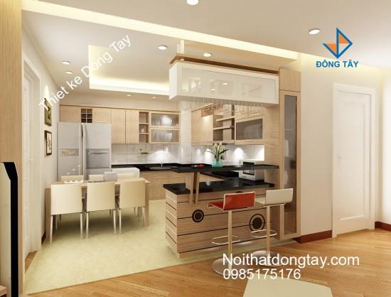 Mẫu phòng bếp thiết kế chữ u cho chung cư