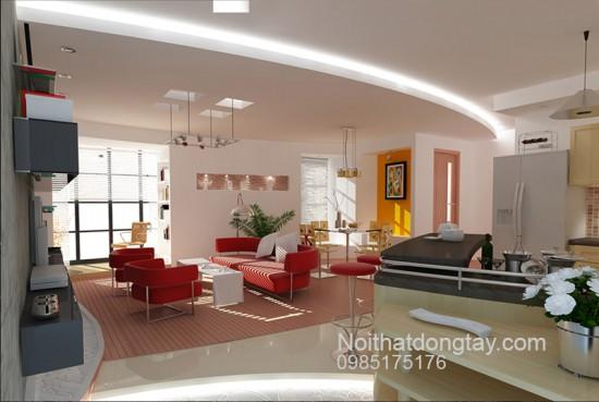 Mẫu thiết kế nội thất chung cư tông mầu hồng