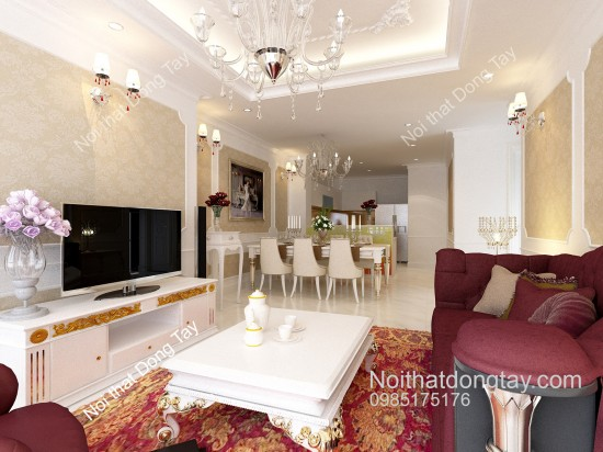 Mẫu thiết kế nội thất cổ điển chung cư
