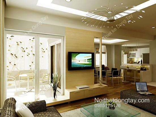 Mẫu thiết kế phòng khách liền bếp nội thất chung cư