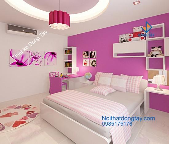 Mẫu thiết kế phòng ngủ con gái nhà chung cư