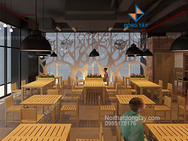 Thiết kế cà phê nhà hàng sử dụng bàn ghế gỗ nan