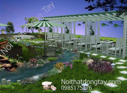 Thiết kế cafe sân vườn đẹp dưới dàn mái tre ngoài trời