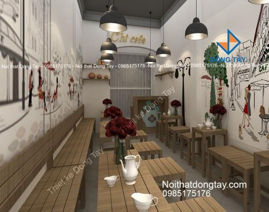 Thiết kế cafe take a way mặt phố