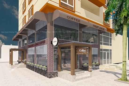 Thiết kế mặt ngoài quán coffee tòa nhà