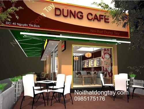 Thiết kế quán cà phê đẹp 2 mặt tiền