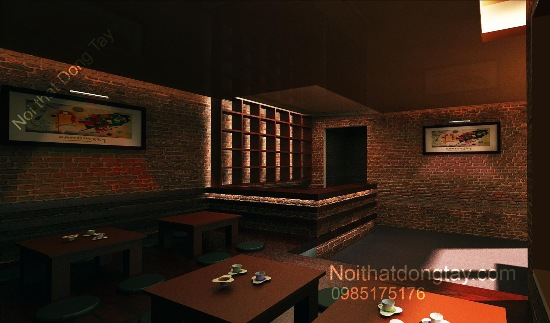 Thiết kế quán cafe gạch mộc